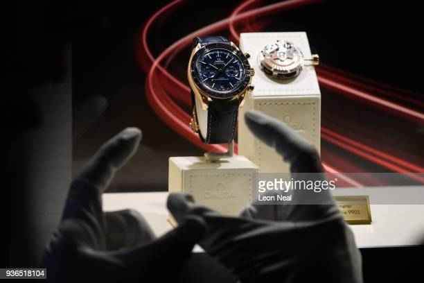 An Omega Speedmaster CoAxial Master Chronometer is seen at the BaselWorld watch fair on March 22 2018 in Basel Switzerland The annual watch trade...