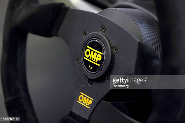 An OMP America steering wheel is seen on a GLM Co Tommykaira ZZ electric vehicle at the company's RD facility in Uji Kyoto Prefecture Japan on...