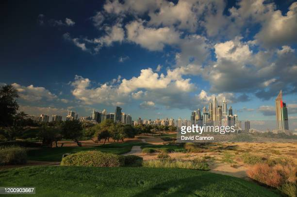 An on camera graduated ND filter used in this image: A general view of the par 4, eighth hole as a preview for the Omega Dubai Desert Classic on the...