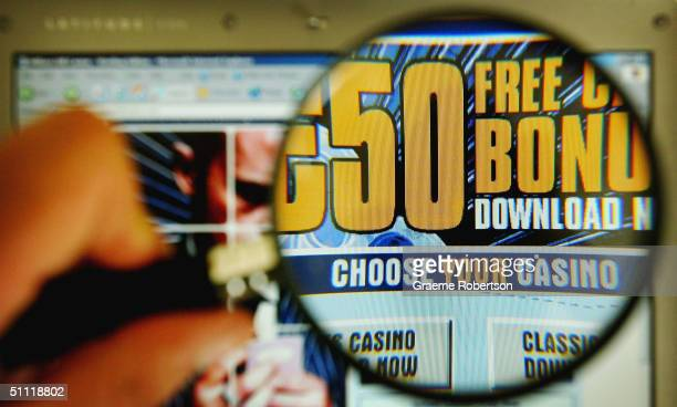 An online Casino's website is pictured on the internet on July 27, 2004 in London. Internet gambling websites should introduce age-verification...