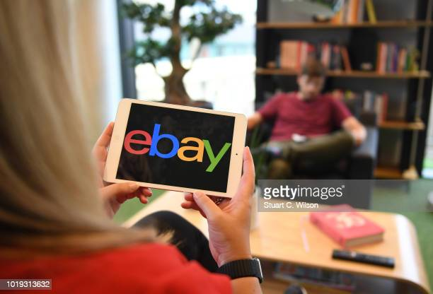 An online shopper uses the eBay tablet app in their living room on May 30 in London, England. EBay remains at the forefront of online retail. The...