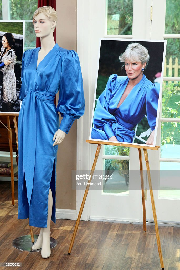 An on-set still and a dress worn by actress Linda Evans photographed on the set of 'Dynasty' Reunion on 'Home & Family' at Universal Studios Backlot on January 23, 2015 in Universal City, California.