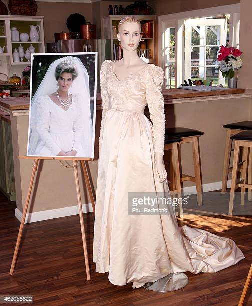 An onset still and a dress worn by actress Pamela Pamela Bellwood photographed on the set of 'Dynasty' Reunion on 'Home Family' at Universal Studios...