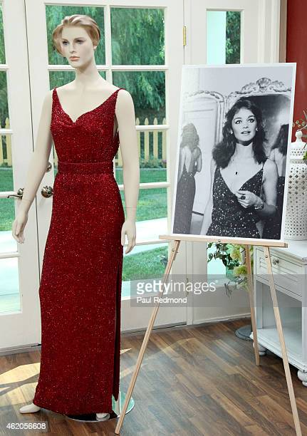 An onset still and a dress worn by actress Pamela Sue Martin photographed on the set of 'Dynasty' Reunion on 'Home Family' at Universal Studios...