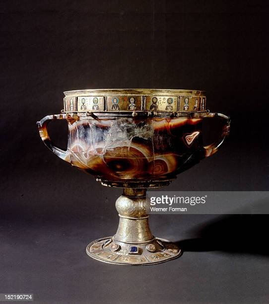 An onyx chalice richly decorated with silver gilt mounts semi precious stones and enamels Probably it was brought to Venice from Constantinople after...