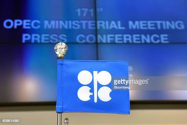 An OPEC branded flag sits on a table ahead of the 171st Organization of Petroleum Exporting Countries meeting in Vienna Austria on Wednesday Nov 30...