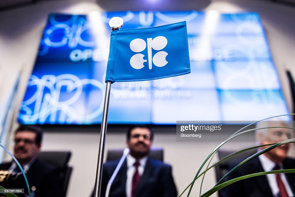 An OPEC flag sits on a table ahead of the 169th Organization of Petroleum Exporting Countries (OPEC) meeting in Vienna, Austria, on Thursday, June 2, 2016. Saudi Arabia is ready to consider a surprise deal with fellow OPEC members, attempting to mend divisions that had grown so wide many dubbed the group as good as dead. Photographer: Akos Stiller/Bloomberg via Getty Images