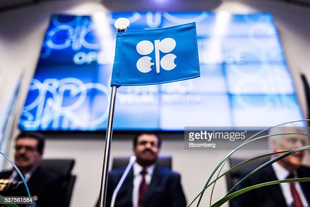 An OPEC flag sits on a table ahead of the 169th Organization of Petroleum Exporting Countries meeting in Vienna Austria on Thursday June 2 2016 Saudi...