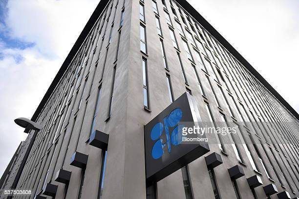 An OPEC logo sits on a sign outside the 169th Organization of Petroleum Exporting Countries meeting in Vienna Austria on Thursday June 2 2016 Saudi...