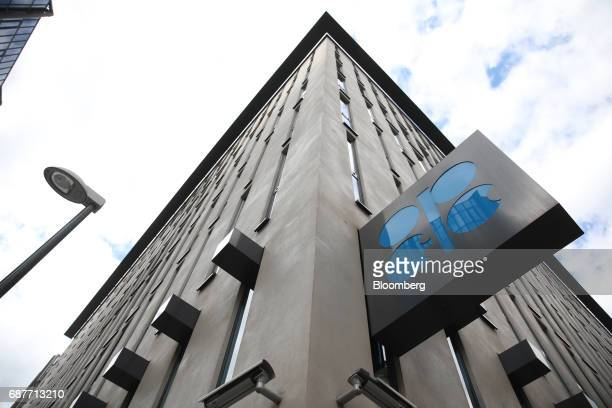An OPEC sign hangs outside the OPEC Secretariat ahead of the 172nd Organization of Petroleum Exporting Countries meeting in Vienna Austria on...