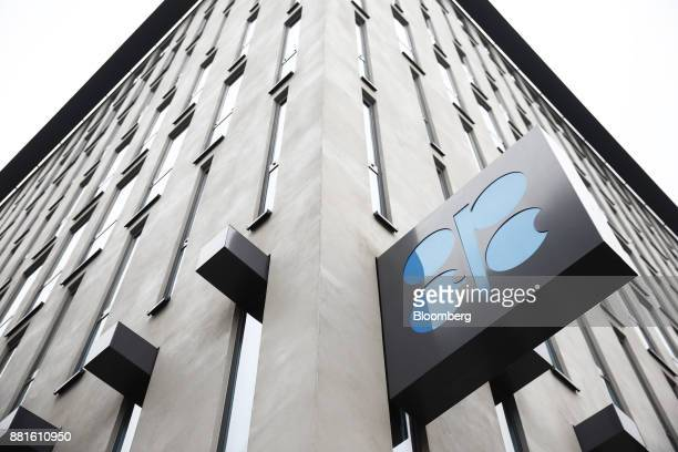 An OPEC sign hangs outside the OPEC Secretariat ahead of the 173rd Organization of Petroleum Exporting Countries meeting in Vienna Austria on...