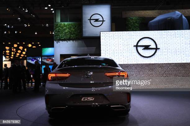 An Opel AG Grandland X GSi automobile manufactured Adam Opel AG a unit of the PSA Group stands on display during the first media preview day of the...