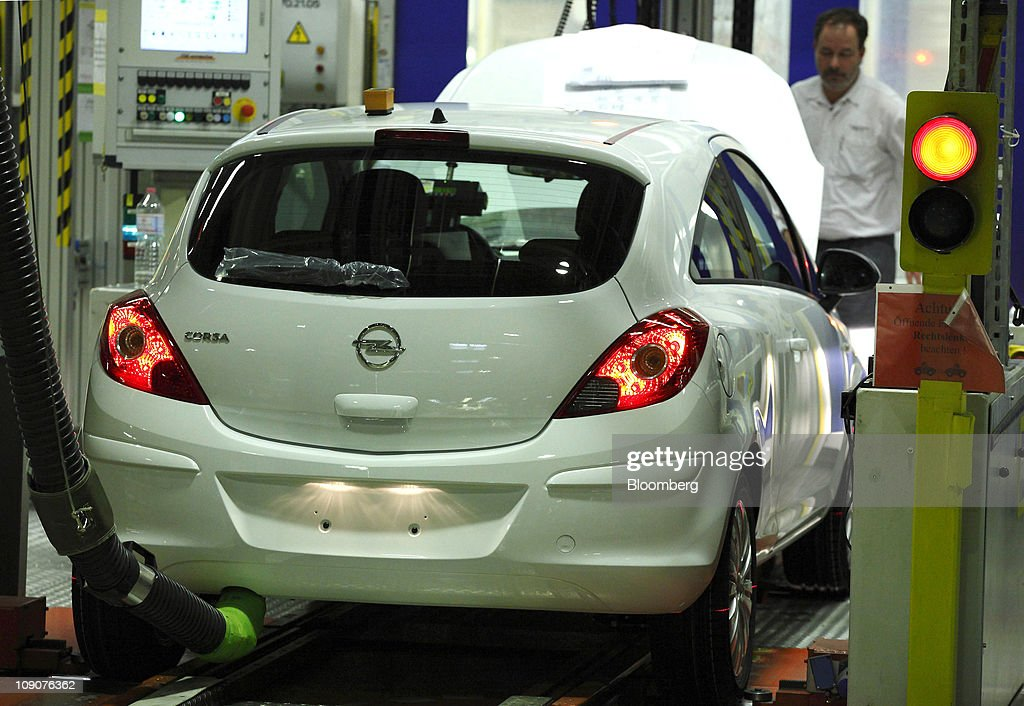An Opel Corsa automobile undergoes final inspection as it passes along the production line at the General Motor Co.'s Adam Opel plant in Eisenach, Germany, on Friday, Feb.11, 2011. General Motors Co.'s Opel unit may break even this year, excluding restructuring costs, said Nick Reilly, GM's European chief. Photographer: Jochen Eckel/Bloomberg via Getty Images