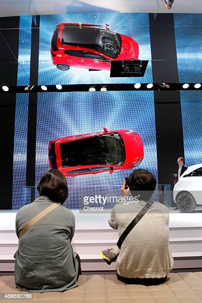 An Opel Corsa is presented during the second press day of the Paris Motor Show on October 03 in Paris France The Paris Motor Show will showcase the...
