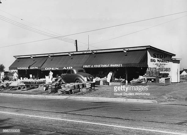 An open air fruit and vegetable market Buffalo New York early to mid 20th century