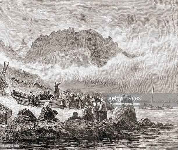 An open air religious service on the Isle of Skye Inner Hebrides of Scotland From the book Scottish Pictures Drawn with Pen and Pencil by Samuel G...