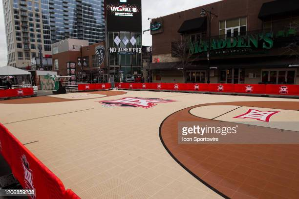 An open basketball court apart of the Big 12 fan experience sits empty due to the cancellation of the Big 12 Tournament to prevent the spread of the...