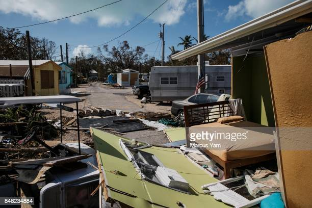 An open bedroom is seen after the walls were ripped out by the effects of Hurricane Irma after it passed through Islamorada Florida Keys on Sept 12...
