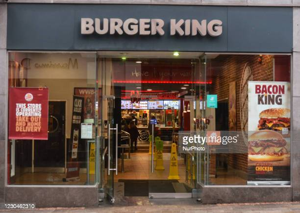 An open Burger King restaurant on Grafton Street in Dublin city center. Ireland is going back into a full lockdown with the Government confirming a...