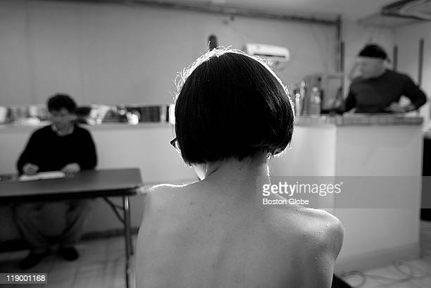 An open life drawing session at the Harvard Square art studio/beauty shop/antique store/massage parlor of Duncan Purdy Model Fallon Crowley poses for...
