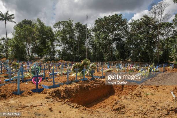 An open mass grave is seen at the Parque Tarumã cemetery on May 27, 2020 in Manaus, Brazil. According to World Health Organization , Brazil has now...