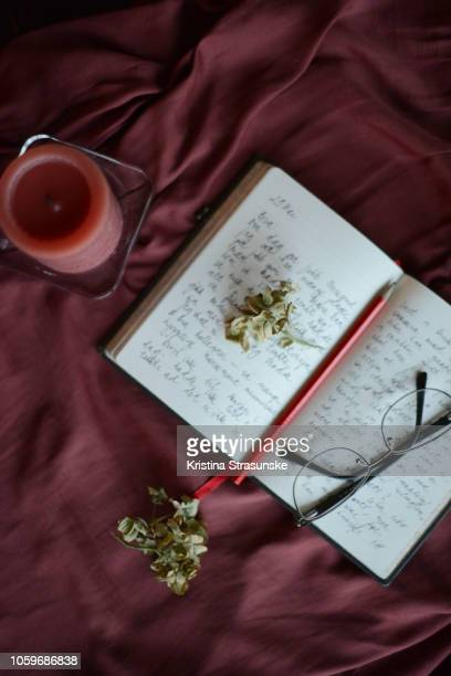 an open notebook with handwritten pages - maroon stock pictures, royalty-free photos & images