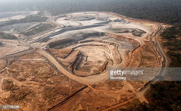 An open pit excavation at Comide SPRL's Mashitu copper mine operated by Eurasian Natural Resources Corp is seen in this aerial view in Katanga...