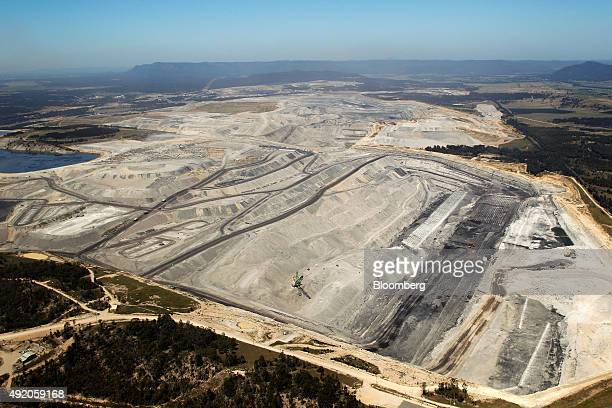 An open pit is seen at Glencore Plc's Bulga Coal operations in this aerial photograph taken near Singleton Australia on Saturday Oct 3 2015 The...