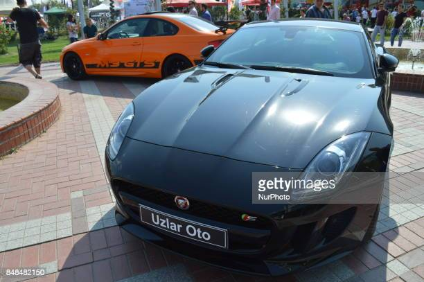 An openair car show is held in Ankara Turkey on September 17 2017 Hundreds of American muscle cars classic cars custom tuned and vinyl wrap cars...