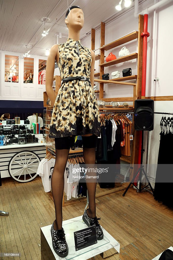 An opening ceremony dress as worn by Rihanna for the 2011 Talk That Talk album cover on display at the Opening Ceremony RIHtrospective: Seven Rihanna Fashion Moments at Opening Ceremony on March 4, 2013 in New York City.