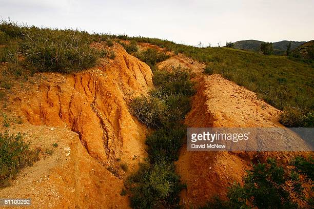 An opening in the earth is seen in the San Andreas Rift Zone, the system of depressions in the ground between the parallel faults of the San Andreas...