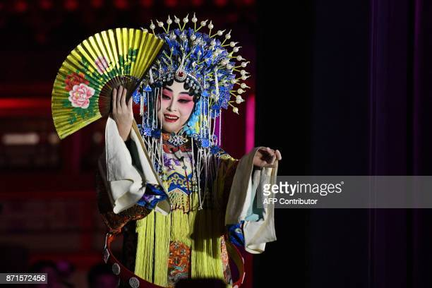 An opera performer takes part in a performance during a tour of the Forbidden City by US President Donald Trump and China's President Xi Jinping in...
