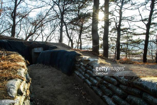 An operational trench system overlooks the main highway leading towards North Korea near the Demilitarized Zone on February 7 2018 near Panmunjom...