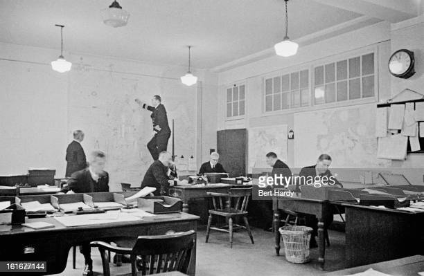 An operations room at Admiralty House on Whitehall in London the official residence of the First Lords of the Admiralty February 1941 Original...