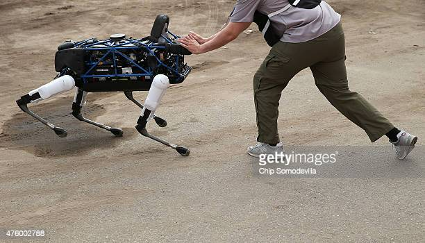 An operator attempts to push over one of Boston Dynamics' Spot robot a fourlegged design for indoor and outdoor operation during the Defense Advanced...