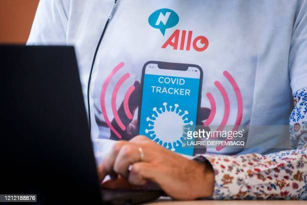 An operator works in a call centre for 'contact tracing' where phonecalls are made to map how many people in Brussels have contracted the Covid19 on...