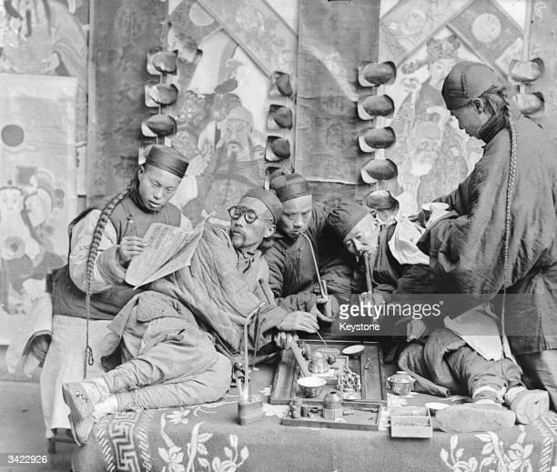 An opium den in China