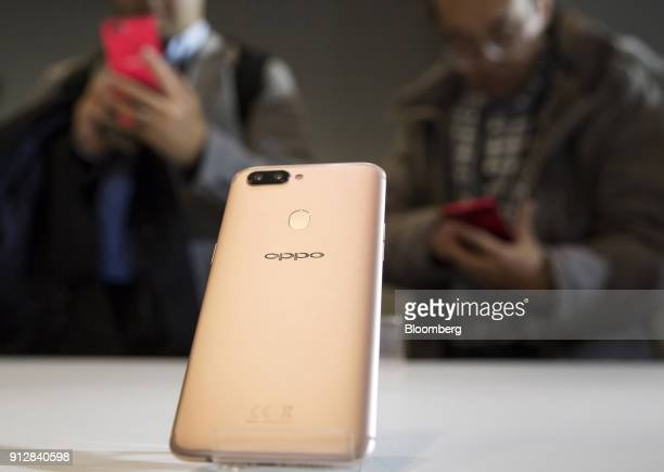 An Oppo R11s smartphone is displayed during a launch event of the smartphone for the Japanese market in Tokyo Japan on Wednesday Jan 31 2018 Oppo...