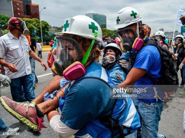 TOPSHOT An opposition demonstrator wounded during clashes with riot police is carried away by medics during a protest against Venezuelan President...