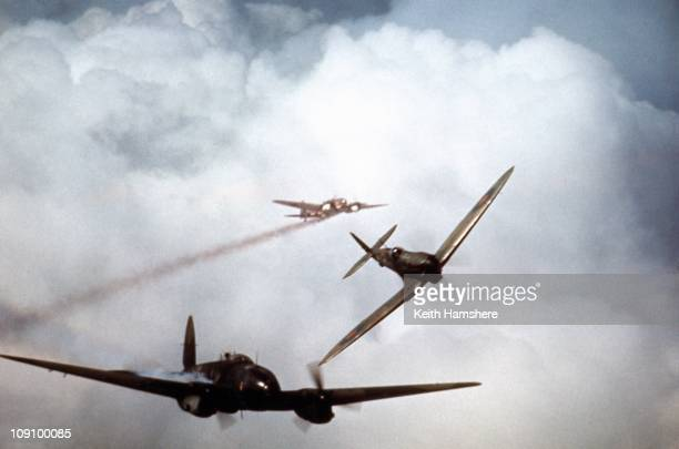 An optical merged image of German Heinkels under Spitfire attack during the filming of 'Battle Of Britain' which recreated the World War II air...