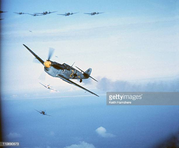 An optically merged image of a dogfight over England between a Spitfire and a Messerschmitt ME 109 made after aerial shots were filmed for 'Battle Of...