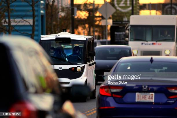An Optimus Ride electric car shuttles employees through traffic on Drydock Avenue in Boston on Nov 6 2019 The car picks up employees from the last...