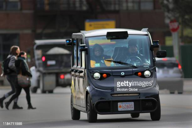An Optimus Ride selfdriving car navigates the Seaport District in Boston which has been zoned for researching and testing the technology on Nov 14...
