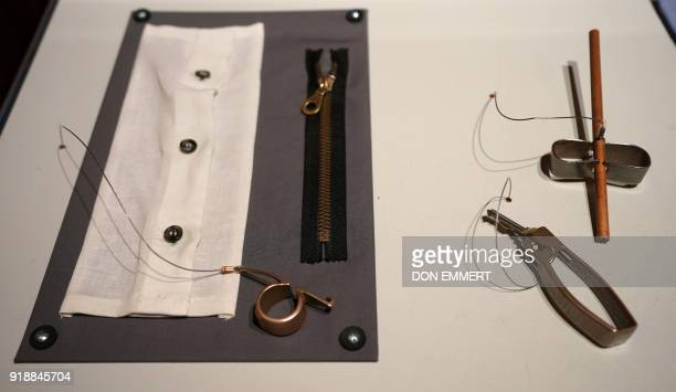 An Ora ring Band ring and Nippu keychain are displayed as part of the AccessAbility exhibit at the Cooper Hewitt Smithsonian Design Museum February 8...