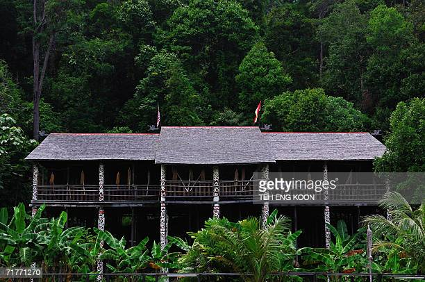 An Orang Ulu longhouse located at the Cultural Village in Sarawak the largest state in Malaysia located on the southwestern of Borneo 01 September...