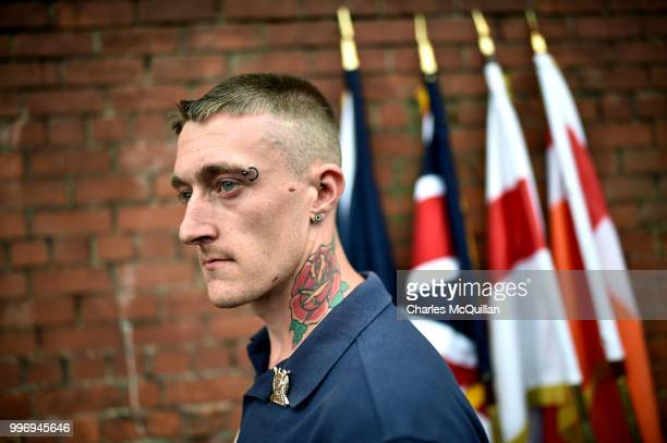 An Orange band member watches as the annual 12th of July Orange march and demonstration takes place on July 12 2018 in Belfast Northern Ireland The...