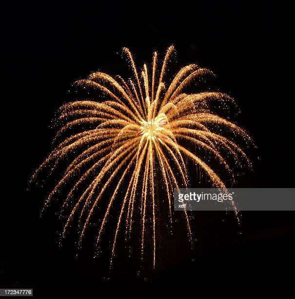 An orange colored firework burst
