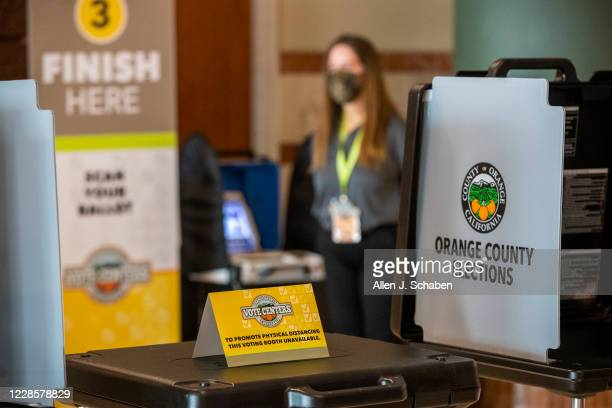 """An Orange County Registrar of Voters election services worker stands by as the media gets a view of the """"Super Vote Center Site"""" for walk-in and..."""