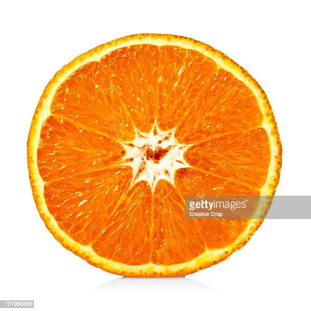 an orange cut in half - cross section stock pictures, royalty-free photos & images
