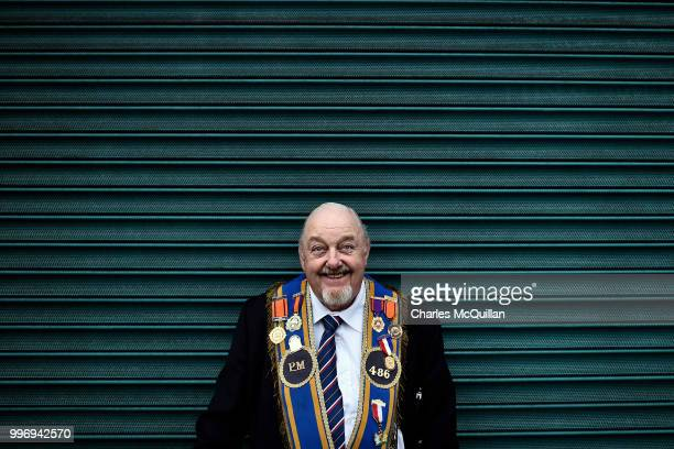 An Orange man poses for a picture during the annual 12th of July Orange march and demonstration takes place on July 12 2018 in Belfast Northern...